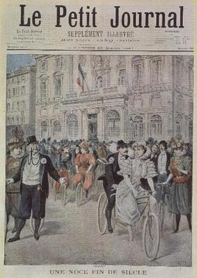 A Wedding on a Bicycle, front cover illustration from 'Le Petit Journal', 5th March 1897