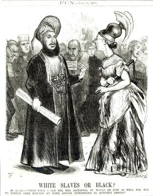 'White Slaves or Black?', caricature from 'Fun' magazine June 26th 1875