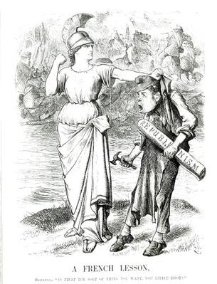 'A French Lesson', cartoon from 'Punch' magazine, April 8th 1871