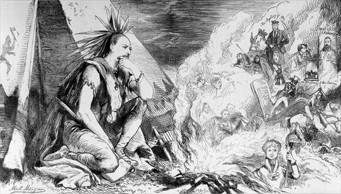 'Pictures in the Fire', cartoon from 'Tomahawk' magazine, August 24th 1867