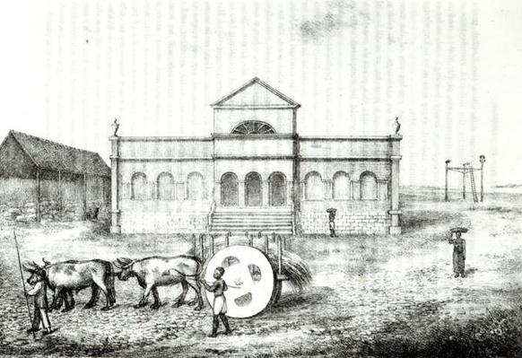 The Rio Exchange, a Public Trapiche, a Grass Wagon and the Gallows, illustration from 'A History of the Brazil' by James Henderson, published in London in 1821