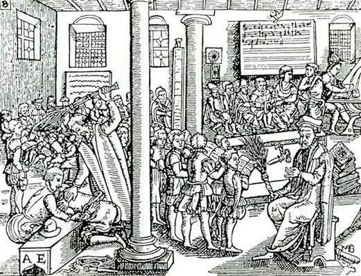 Schoolroom scene in Tudor times