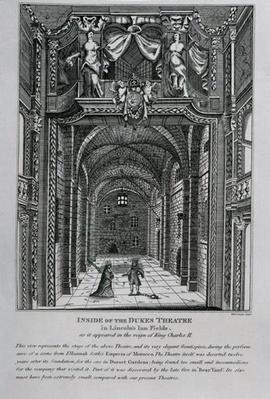 Interior of the Duke's Theatre in Lincoln's Inn Fields during the reign of King Charles II, 1809