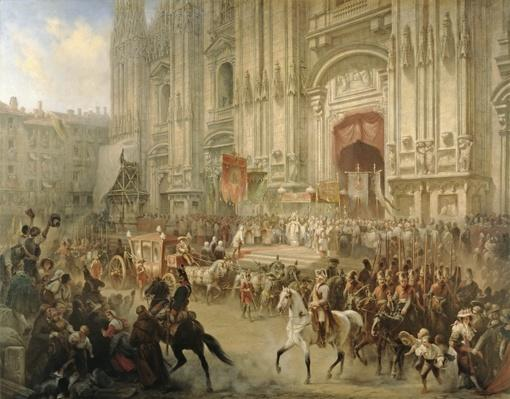 Ceremonial reception of Field-marshal Alexander Suvorov in Milan in April 1799, c.1850