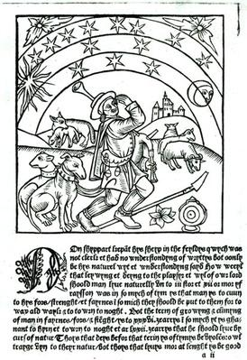 Shepherd under Sun, Moon and Stars, from a Shepherd's Calendar
