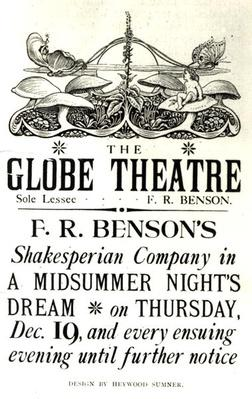 Poster advertising 'A Midsummer Night's Dream' by William Shakespeare
