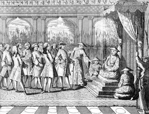 The Viceroy of Canton giving an audience to Commodore Anson from 'George Anson's Voyage around the World in the years 1740-1744'