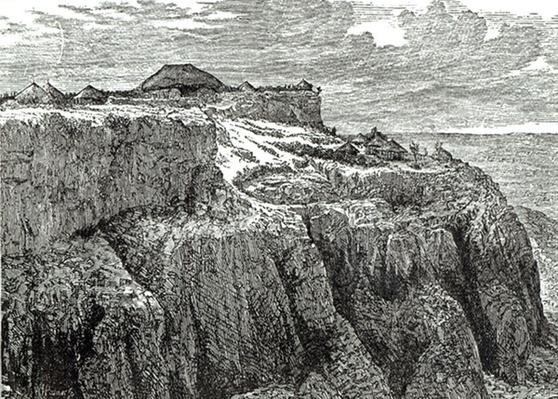 King Theodore's House, Magdala from 'Cassell's Illustrated History of England', 1868