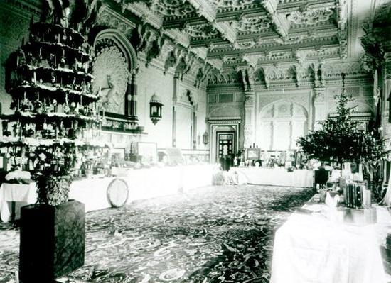 Christmas Tables in the Durbar Room at Osborne House, 1900