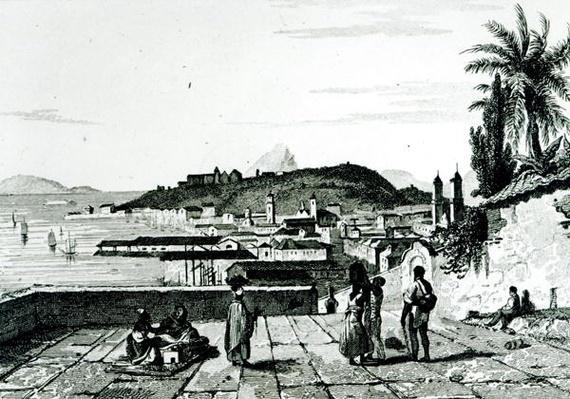 View of Rio de Janeiro from the church of St.Bento drawn by Fleury, engraved by Aubert, 1838