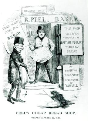 'Peel's Cheap Bread Shop, Opened January 22, 1846', cartoon from 'Punch' magazine, c.1846