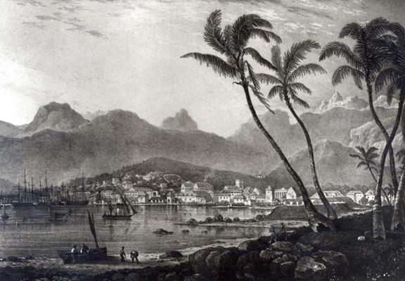 Port Louis from 'Views in the Mauritius' by T.Bradshaw, engraved by William Rider, 1831