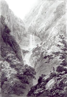 The Cascade of Minzapeezo, watercolour by Samuel Davies after an engraving, c.1800