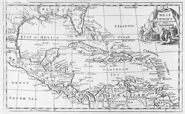 Map of the West Indies, Florida and South America