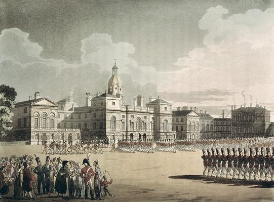 Mounting Guard at St. James's Park, engraved by J. Bluck, pub. 1809 by Ackermann's 'Repository of Arts'