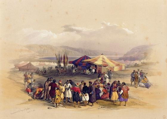 Encampment of the Pilgrims at Jericho' 1st April 1839, from Volume II of 'The Holy Land'; engraved by Louis Haghe