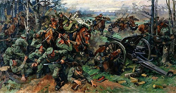 The Russian Cavalry Charging the German Artillery in 1915