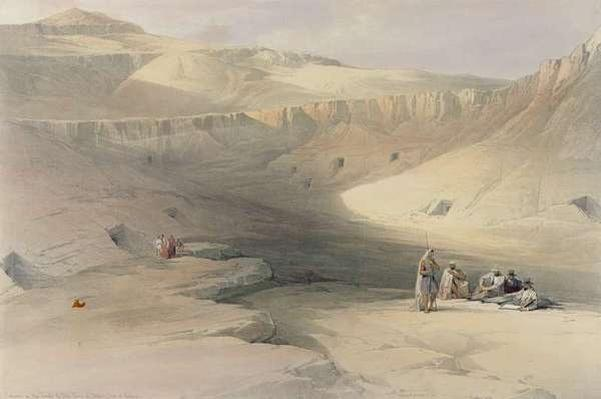 Entrance to the Valley of the Kings, from 'Egypt and Nubia', engraved by Louis Haghe
