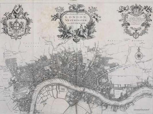 A New Plan of the City of London, Westminster and Southwark, in 'A Survey of the Cities of London and Westminster', printed by A. Churchill, J. Knapton, R. Knaplock, et al, 1720