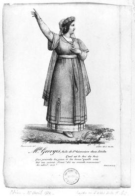 Mademoiselle George in the role of St. Genevieve from Act II, Scene 3 of 'Attila' by Pierre Corneille