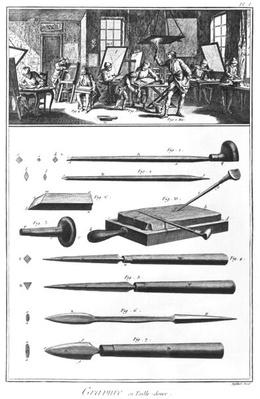 The engraving Workshop, Chapter on engraving, plate I, illustration from the 'Encyclopedia' by Denis Diderot