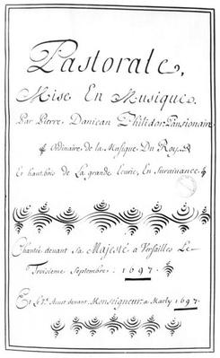 Title page of the 'Pastorale' by Pierre Danican Philidor