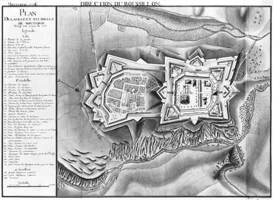 Plan and map of the town and citadel of Mont-Louis, 1776