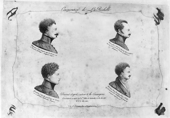 La Rochelle plot, portraits of the four sergeants, after 1822