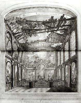 Decoration of the chapel of the Hospice des Enfants Trouves in Paris, engraved by Etienne Fessard