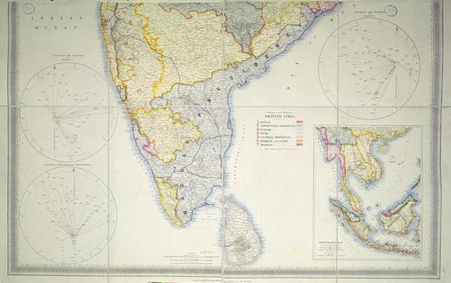 Map of British Southern India, 1872