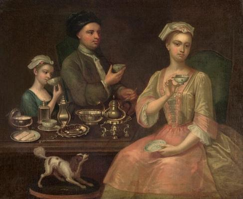 A Family of Three at Tea, c.1727