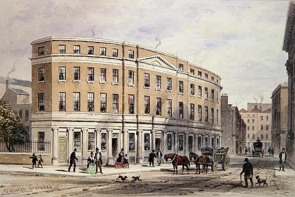New Houses at Entrance of Gresham St, 1851
