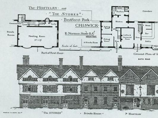 The Hostelry and The Stores, Bedford Park, Chiswick, from 'The Building News', 1877
