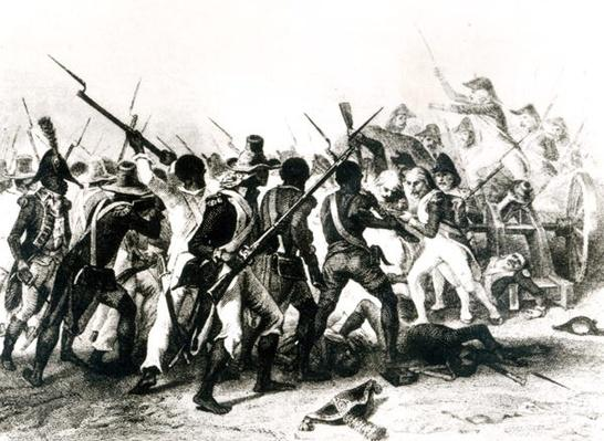 Battle of Vertieres, San Domingo, 18th November 1803, engraved by Frilley, 1803