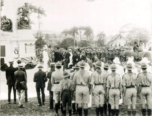 Unveiling of War Memorial, Port of Spain, Trinidad, c.1920