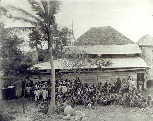 Plantation Workers on arrival from India, mustered at Depot, c.1891