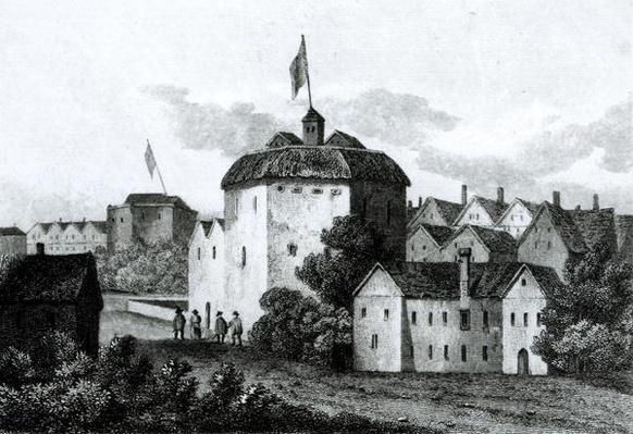 The Globe Theatre on the Bankside as it appeared in the reign of James I