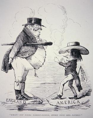'What? You young Yankee-Noodle, strike your own Father?', cartoon from 'Punch' magazine, 14th March 1846