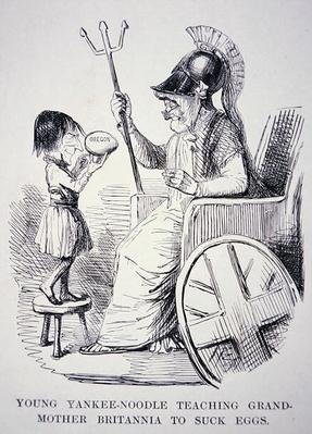 'Young Yankee-Noodle teaching Grand-Mother Britannia to suck eggs', cartoon from 'Punch' magazine, 1846