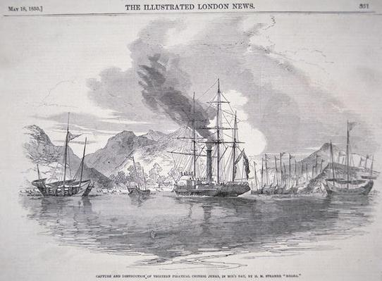 Capture and Destruction of Thirteen Piratical Chinese Junks in Mir's Bay by H.M. Steamer 'Medea', published in Illustrated London News, 18th May 1850