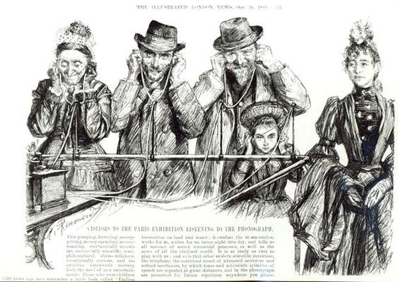 Visitors to the Paris Exhibition listening to the Phonograph, from 'The Illustrated London News', 26th October 1889