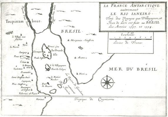 The Rio Ianeiro, from the travels of Villegagnon and Jean le Leri in Brazil 1557-1558