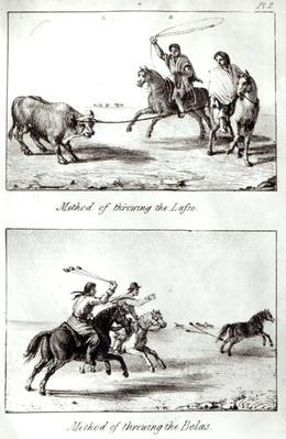 Methods of Throwing the Lasso and the Bolas, from 'Travels in Chile and La Plata' by John Miers, 1826