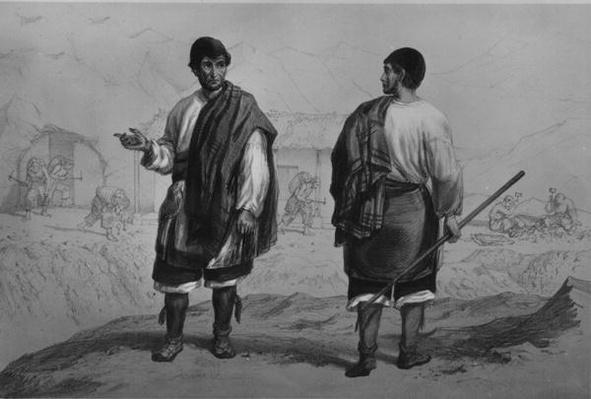 Miners of Chile, engraved by F. Lehnert