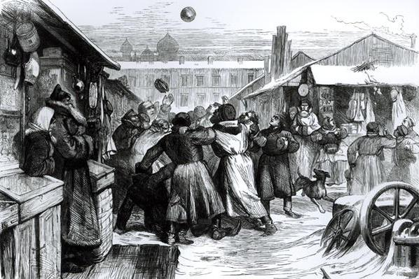 Football in the Jews' Market, St. Petersburg, from the 'Illustrated London News', 1874