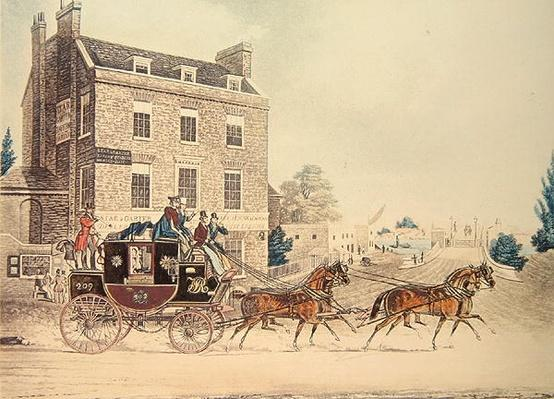 Quicksilver Royal Mail passing the Star and Garter at Kew Bridge, 1835