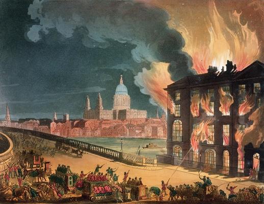 Fire at Albion Mill, Blackfriars Bridge, from Ackermann's 'Microcosm of London' c.1808-11