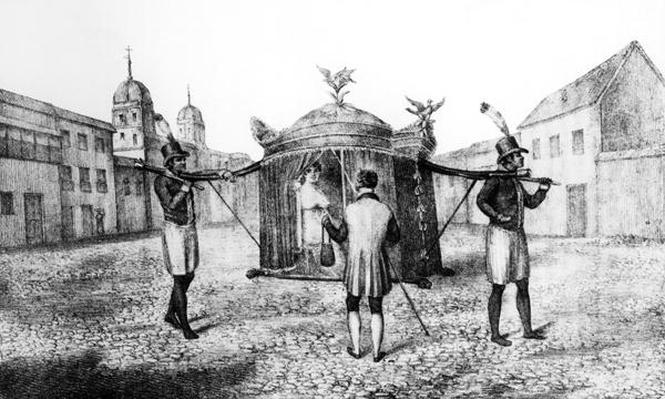 A Brazilian Sedan Chair and a Person Begging for the Church, 1821