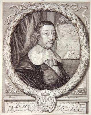 Portrait of Mildmay Fane, from the 'Atlas of the Counties of England and Wales' by Christopher Saxton, engraved by P. Williamson, 1662