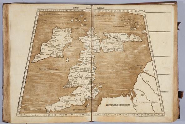 Tabula Prima Europa, from 'Geographie opus novissima traductione e Grecorum archetypis castigatissime pressum', printed by Johann Scott in 1513
